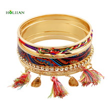 2016 women new multicolor fringes bracelet&bangles crystal flower arm cuff big Gold-color tirbal ethnic bangle tassel pulseiras(China)