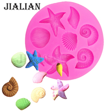 Shells starfish conch chocolate Party cake decorating tools DIY sea star silicone molds Sugar Chocolate Decor candy T0240(China)