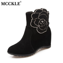 MCCKLE Women's Fashion Ankle Boots Elegant Flower Height Increasing Woman Boots Hidden Wedges Round Toe Zipper Casual Shoes