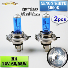 2 PCS 12V 60/55W H4 Halogen Lamp 5000K Car Halogen Bulb Xenon Dark Blue Glass Super White