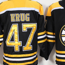 Mens #47 Torey Krug Blue Gold White Black Home 100% Embroidery Hockey Jerseys High Quality free shipping(China)