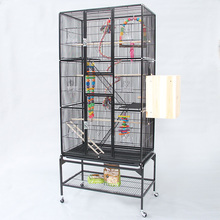 Super Larger Flat-top Metal Iron Bird Cages Black White Big Large Parrot Cage Pet Cages Aviaries For Group Birds B08(China)