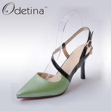 Odetina 2017 Elegant Women Kitten High Heels Shoes Slingbacks Pointed Toe Ankle Strap Ladies Pumps Plus Size Woman Dress Shoes