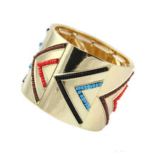 Free Shipping New Arrival Women Gold-Color Multicolor Beads Hinge Cuff Bracelets Jewelry(China)
