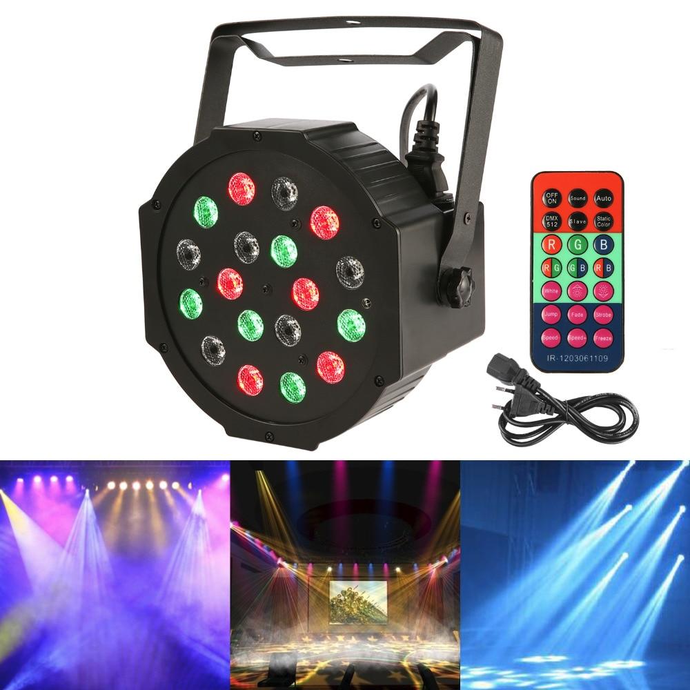 Powerful 18LEDs 18W RGB Colorful 7CH DMX-512 Led Stage Par Light for DJ Disco Strobe Party KTV Club Lighting with Remote Control<br>