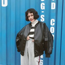 Vintage leather vintage HARAJUKU street u gold zipper POLO collar motorcycle jacket long-sleeve outerwear female Black leather(China)