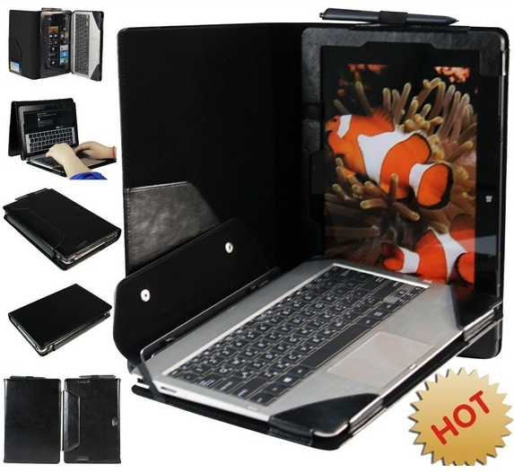 For Asus VivoTab TF810 11.6 Leather Keyboard Portfolio Stand Case Cover Black<br>