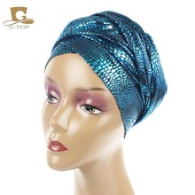 2017 NEW Luxury metallic Head Wrap African head Scarf  jewish long Turban Women Headwraps Chemo Headscarf