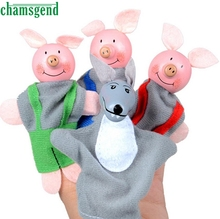 CHAMSGEND 4pcs Finger Puppets Animais Pigs And Wolf  Plush Toys For Kids Hand Puppets Christmas Gift Education WNov17
