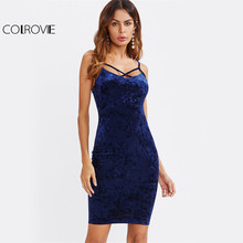 Buy COLROVIE Strappy Cross Club Velvet Dress 2017 Women Royal Blue Fitting Bodycon Slip Summer Dresses Sexy Slim Elegant Midi Dress for $9.89 in AliExpress store