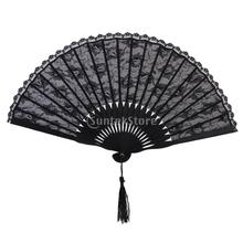 Spanish Victorian Lace Hand Fan for Wedding Party Favor Fancy Dress Black