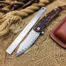 Newest VG10 Damascus Folding Knife,OX Bone Handle Collection Folding Blade Knife,Hunting Pocket Knives,Outdoor Tactical Knives