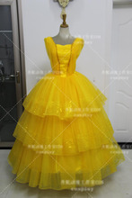2017 New Arrival Moive Beauty And The Beast Belle Princess For Adults Women Cosplay Costume Yellow Beautiful Dress Custom Made