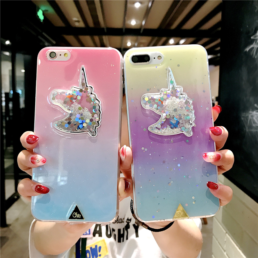 XINKSD For iphone 6 s 6s Gradient Luxury diamond unicorn phone case On iphone 7 8 x xr xs max Ultra-thin soft tpu liquid funda (4)