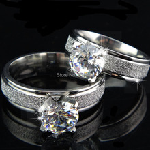Top 10pcs Never fade Men's Women's 316L Stainless Steel 8mm CZ Frosted 18K White Gold Plated Wedding Engagement Rings A080