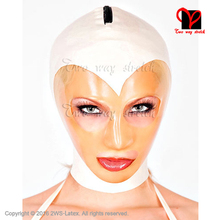 Sexy Latex Hood White hair transparent face big eyes mouth nose open zipper back Latex Rubber Mask Headgear TT-065(China)