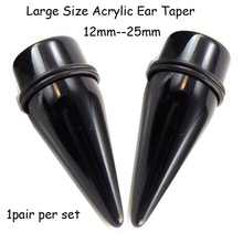 Showlove- PAIR Large Size UV Acrylic Black Ear Taper  Ear Stretching Expander Piercing 12mm--25mm for you choose