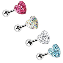 "BOG-Lot 4 Pieces Mulity CZ Gem Crystal Paved Heart Barbell Epoxy 14G 5/8"" Steel Tongue Ring Piercing Jewelry"