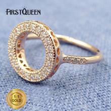 FirstQueen New Arrival 14K Rose Gold Hearts Halo Ring,  Clear CZ plata 925 Rings For Women anillos Fine Jewelry