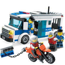 204Pcs Children Educational Blocks Toys City Police car Blocks Toys Assembled Building DIY Toys for Kids compatible with Legoe