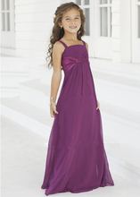 Cheap Price Lovely Flower Girls Dresses Spaghetti Straps Grape Purple Chiffon Little Kids Pageant Dress Wedding Party Girl Gown