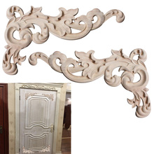 Wood Applique Decoration Wood Furniture Miniatures Woodcarving Decal Corner Applique Frame Wall Door frame Decorative Figurines(China)