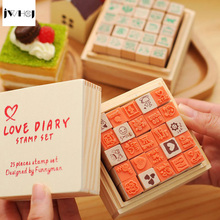 JWHCJ (25 PCS/set) Mini Cute diary wooden rubber stamp gift box sets Crafts diy Handmade decal scrapbooking Photo Album(China)