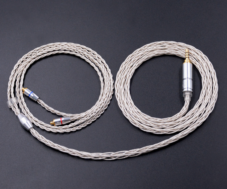 NICEHCK MMCX Cable 3.5/2.5mm Balanced 8-Core Oxygen-free Copper Silver Plating Cable Use For SE846 LZ A4 MMCX Interface Cable
