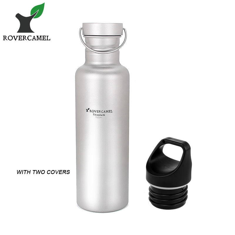 Rover Camel Titanium Cycling Water Sport bottle 750ml Lightweight Camping Drinkware with Titanium lid and Bottle coat Ta8386RC<br>
