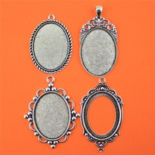 1pcs 30*40mm Inner Size Oval Zinc Alloy Cabochon Base Cameo Setting Charms Pendant Tray(China)