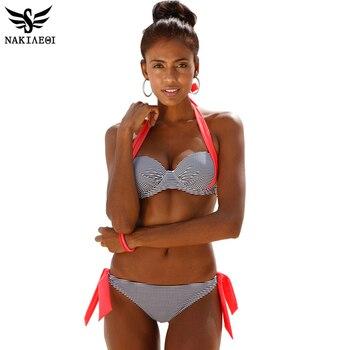 NAKIAEOI 2016 Nouveau Sexy Bikinis Femmes Maillot de Bain Push Up Bikini ensemble Maillots de Bain Halter D'été Vêtements De Plage Plus La Taille de Maillots De Bain XXL