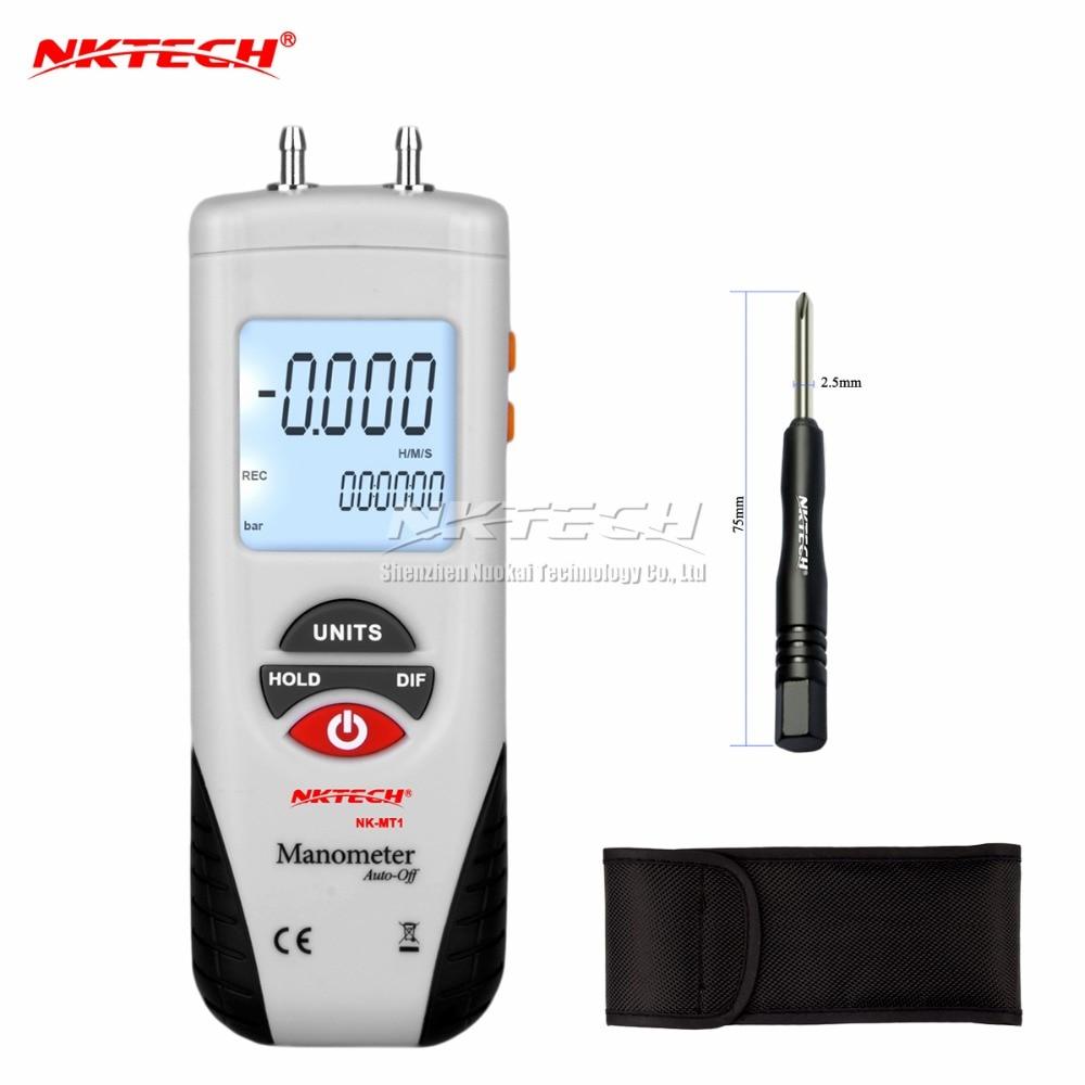 LCD air manometer pressure gauge Mini pressure differential meter digital pressure gauge manometer Data Hold 11 Units<br>