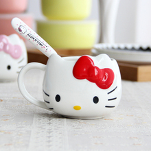 Cartoon Hello Kitty Bone Ceramic Coffee Milk Tea Mug Cup with Lid Spoon Gift Mug