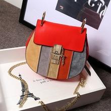 Genuine leather chain rainbow piggy bag mini leather handbag bump color frosted one shoulder aslant lady bags Fashion woman bag