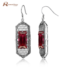Luxury Dangles Long Earrings For Women Red CZ Stone Wedding Earrings Soild 925 Sterling Silver Crystal Indian Jewelry Wholesale(China)
