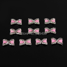 C65 50pcs/lot Pink bowknot 9MM*5MM  glittering 3 d alloy diamond acrylic nail art UV glue tip cell phone design adornment