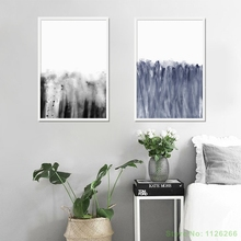 Frameless  Ink abstraction Painting Blooming Black And White Painting Art Canvas Poster Home Decoration
