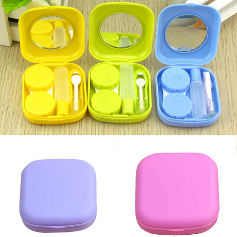 1 pc hot selling Pocket Mini Contact Lens Case Travel Kit Mirror Container High Quality Cute portable H0139(China)