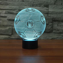 New Design Football Sports 3d Nightlight Atmosphere Bedside Children Lamp 7 Colors Change Flash Home Decorate Table Lamp(China)