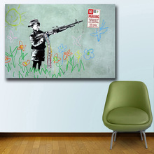 Mklql Graffiti Art Banksy Kid With Machine Gun For Home Decor Wall oil Painting Print Nice Wall Picture For Living Room(China)