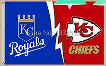 Kansas City Royals and Chiefs Nation Large Flying Flag 3x5ft Banner brass metal holes Flag(China)