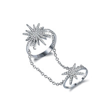 NJ Fashion stainless steel full of zircon hollow snowflower ladies set of rings party jewels chinese market online(China)