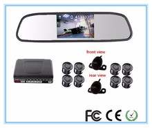 Car video 8 Parking Sensor Mirror Monitor Assistance Reverse Visible Radar Monitor System with Vehicle 2  Front Rear View Camera