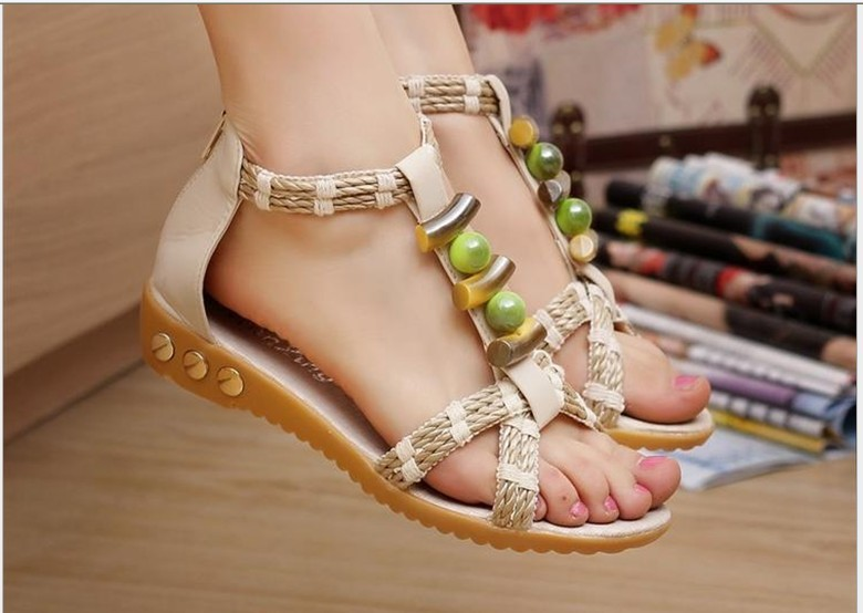 2014 New arrival rhinestone zipper pearl beaded high heels Bohemia wedges sandals women shoes <br><br>Aliexpress