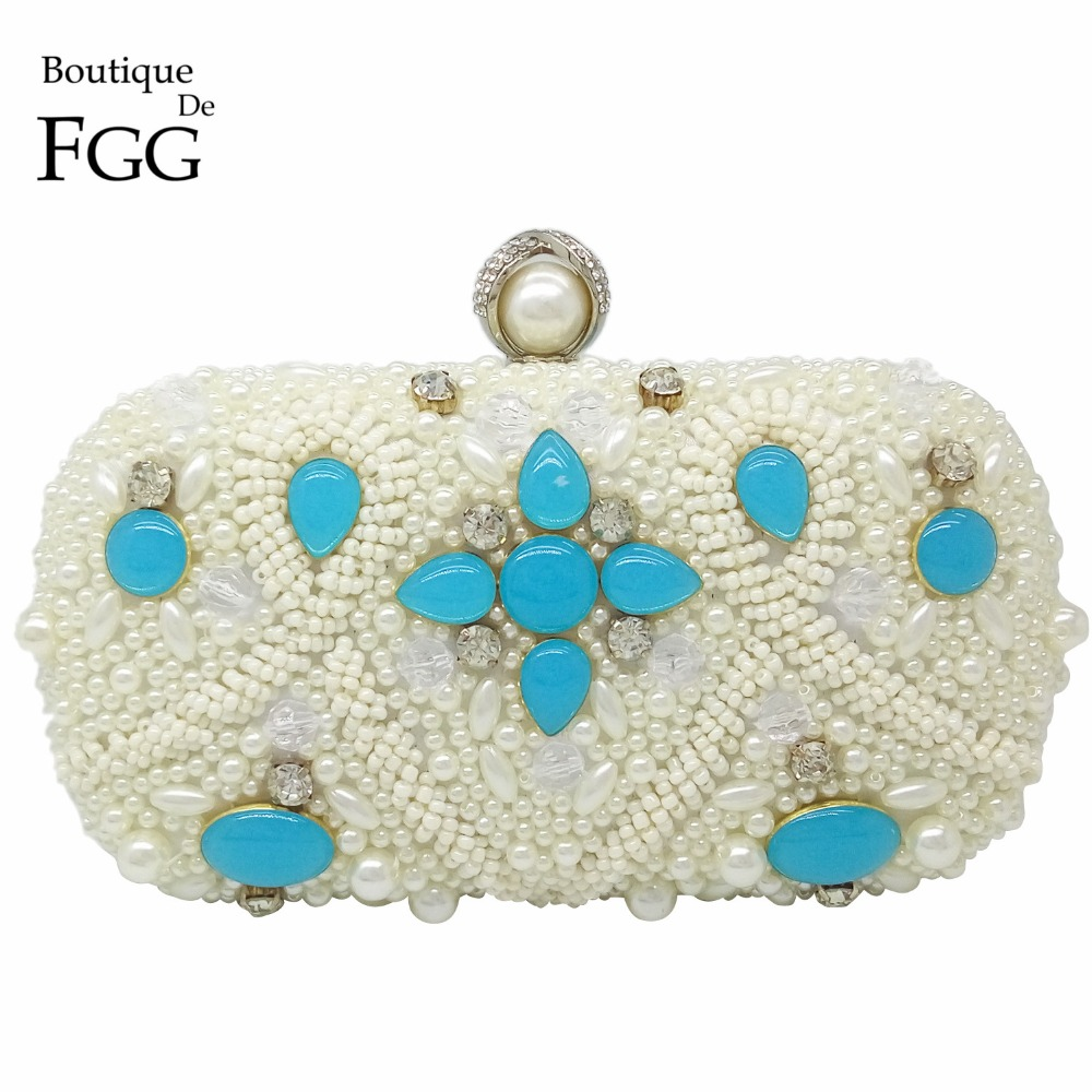 White Beaded Blue Satin Crystal Rings Pearl Women Evening Wedding Banquet Handbags Clutch Metal Hardcase Shoulder Bags Clutches<br><br>Aliexpress