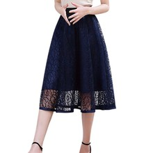 Buy New Women Summer Ball Gown Skirt Solid Color Lace Skirt Empire Waist Mesh Mini Skirts 2017 for $7.64 in AliExpress store