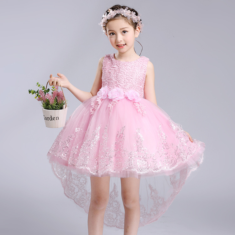 Baby Girl Floral Dress Lace Infant Sleeveless Princess Party Dress with Train Tail Tutu Big Bow Girl Dress Children Cloth dress<br>