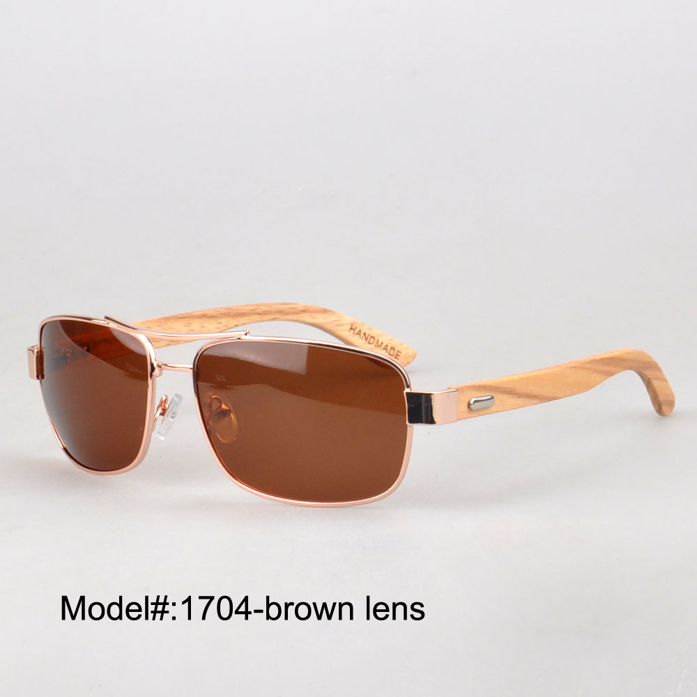 New arrival  1704 mens style metal frames with polarized lens wood temple  sunshade <br><br>Aliexpress