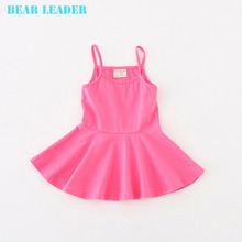 Bear Leader 2016 New Summer Casual Style Pure cotton falbala Condole belt dress Baby candy color Lovely princess dress