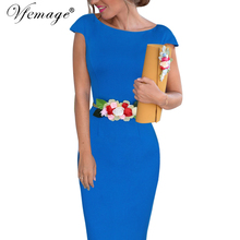Vfemage Womens Elegant Flower Floral Belted Party Evening Special Occasion Bridesmaid Mother of Bride Bridal Bodycon Dress 6669